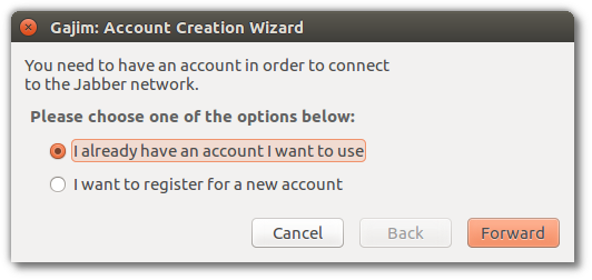 Gajim account creation wizard