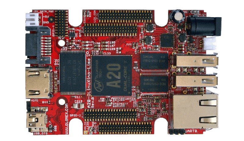 Image of an A20 Olimex SoC board