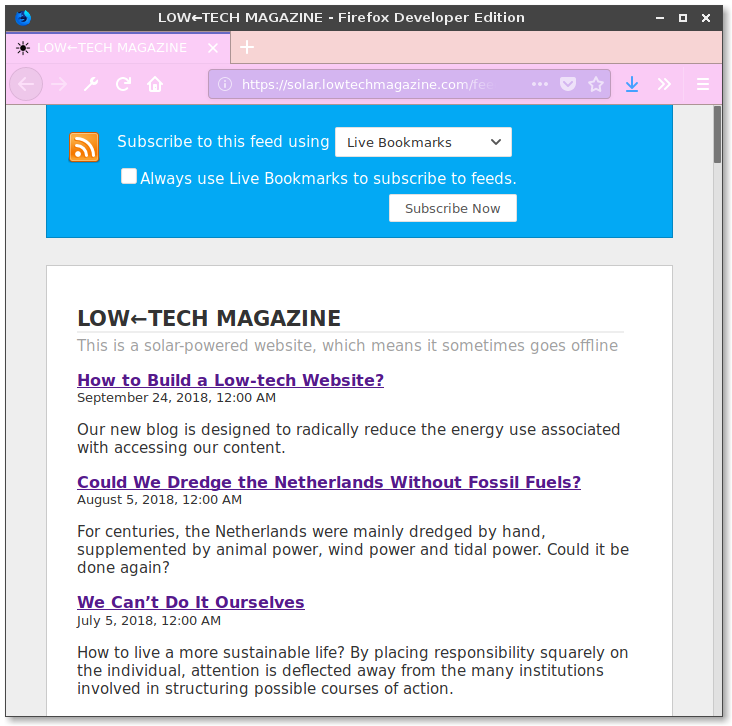An image of the built-in feed reader of Firefox showing solar.lowtechmagazine.com's RSS feed